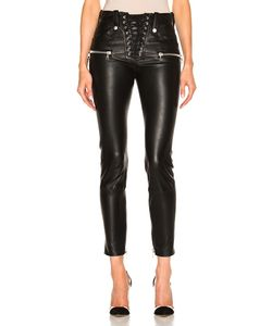 Unravel | Lace Front Skinny Leather Pants