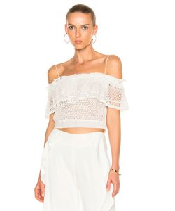 Jonathan Simkhai | Ruffle Crochet Off Shoulder Crop Top