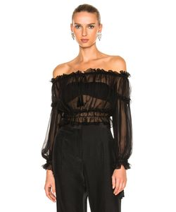 Alberta Ferretti | Chiffon Off The Shoulder Peasant Blouse