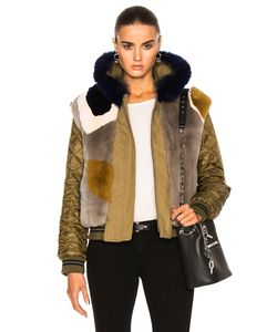Army Yves Salomon | Reversible Bomber With Rabbit Fox Fur