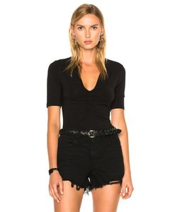 T by Alexander Wang   Modal Spandex Shirred Front Short Sleeve Top