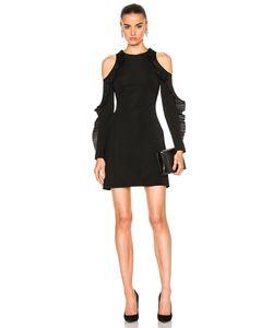 David Koma | Ruffled Long Sleeve Open Shoulder Dress