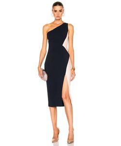 Cushnie Et Ochs | One Shoulder Color Block Stretch Viscose Dress