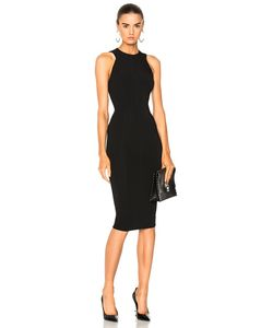 Victoria Beckham | Dense Rib Jersey Cut Out Back Fitted Dress In