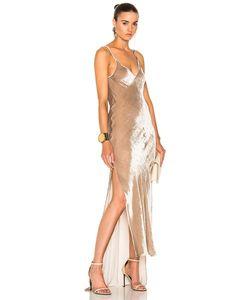 Juan Carlos Obando | Velvet High Low Slip Dress In Neutrals.