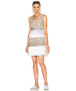 Alberta Ferretti   Crochet Embellished Sleeveless Mini Dress