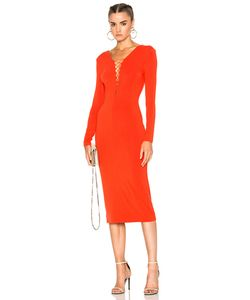 T by Alexander Wang   Micro Modal Spandex Lace Up Long Sleeve Dress