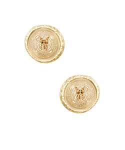 Kenneth Jay Lane | Textured Filigree Button Earrings