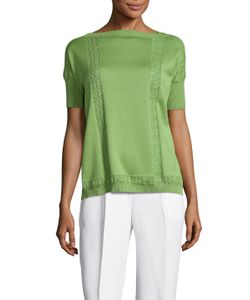 Valentino | Cotton Lace Embroidered Side Split Sweater
