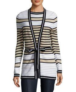 Carolina Herrera | Silk Striped Tie Bow Sweater