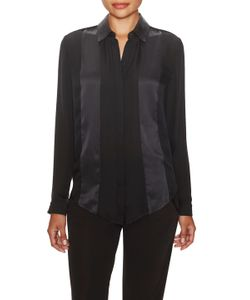 Ohne Titel | Silk Satin Trim Button Up Blouse