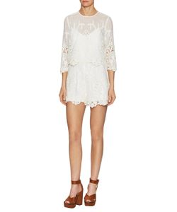 Saylor | Lindsey Lace Cotton Scalloped Top