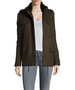 Army Yves Salomon   Wool Flap Pocket Jacket