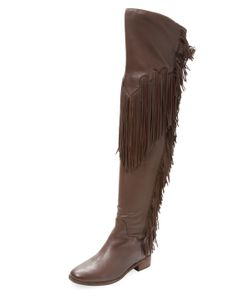 See by Chloé | Fringed Leather Over The Knee Boot