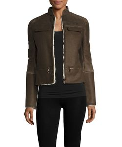 Army Yves Salomon | Faux Leather Fur Lined Jacket