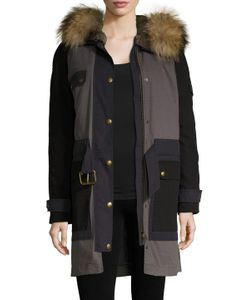 Army Yves Salomon | Closure Galore Cotton Colorblock Parka