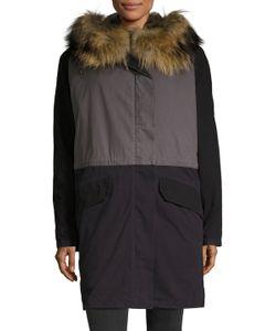 Army Yves Salomon   Cotton Colorblock Fur Collar Parka