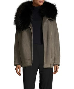 Meteo By Yves Salomon | Leather Fur Trim Hood Coat