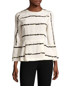 Derek Lam 10 Crosby | Silk Striped Bell Sleeve Blouse