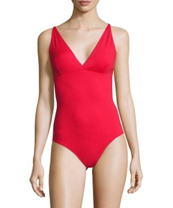 Melissa Odabash | Madrid Solid V-Neck One Piece Swimsuit