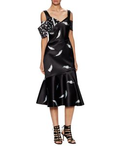 Prabal Gurung | Feather Print Draped Flare Dress