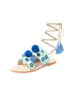 Antik Batik | Klarine Embroidered Lace-Up Sandal