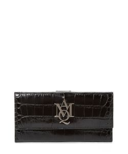 Alexander McQueen   Insignia Croc Embossed Leather Continental Wallet