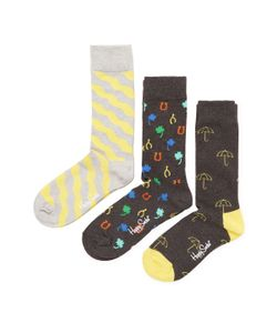 HAPPY SOCKS | Intarsia Knit Cotton Socks 3 Pk