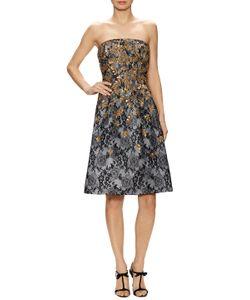 Oscar de la Renta | Embroidered Strapless Flared Dress