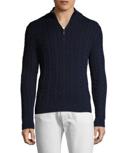 Brooks Brothers | Cotton Cableknit Half Zip Sweater