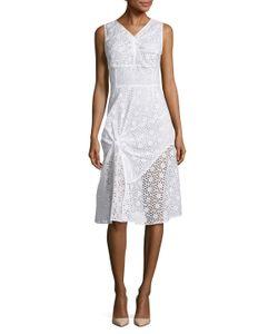 Oscar de la Renta | Eyelet Gathe Waist Cotton Dress