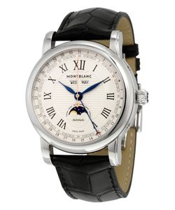 Montblanc   Star Stainless Steel Alligator Leather Watch 42 Mm
