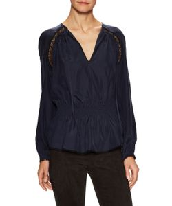 Derek Lam 10 Crosby | Silk Lace Paneled Peplum Blouse