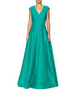 Halston Heritage | Cotton Cap Sleeve Faille Gown