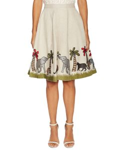 Alice + Olivia | Earla Embroidered Flared Skirt