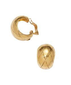 Chanel   Vintage Quilted Cc Hoop Earrings