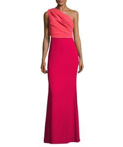 Badgley Mischka   Color Block One Shoulder Gown