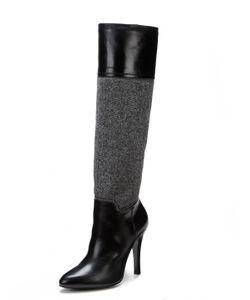 Barbara Bui   Fabric Leather Combo Boot