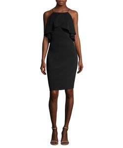 Badgley Mischka | Cold Shoulder Cape Sheath Dress