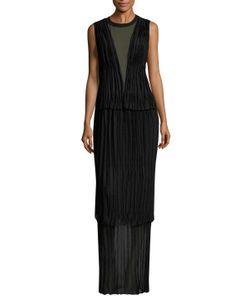 Vera Wang | Ribbed Crewneck Mesh Inset Column Gown