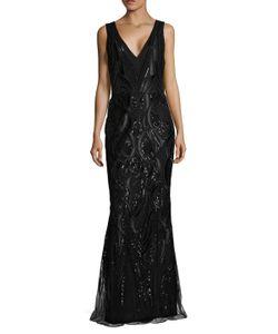 Marchesa Notte | V Neck Sequin Gown