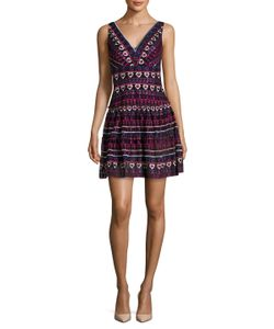 Anna Sui | Embroidered V Neck Flared Dress