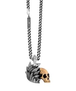 King Baby | Skull With Raven Wing Pendant Necklace