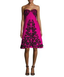 Oscar de la Renta | Lace Contrast Embellished A-Line Dress