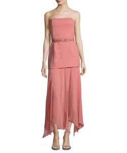 Halston Heritage | Crepe Georgette Asymmetrical Dress