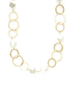 Kenneth Jay Lane | Circles Link Pearl Station Necklace