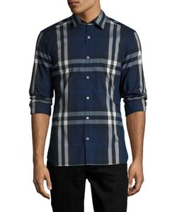 Burberry London   Checke Spread Collar Sportshirt
