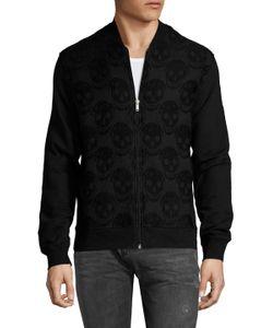 Alexander McQueen   Embroide Skulls Zip Up Sweater