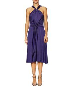 Halston Heritage | Gathered Tie And Slit Flared Dress