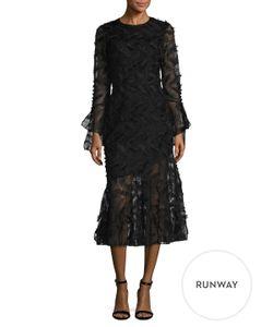 Prabal Gurung   Embroide Flounce Midi Dress